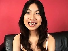 Beautiful oriental babe plays with fucktoys on smooth-shaven pussy