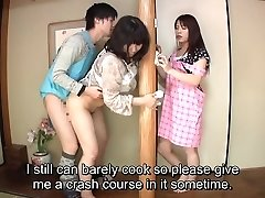 Subtitled Japanese risky sex with sensual mummy in law