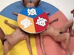 Subtitled CFNF insane Japanese girl-on-girl roulette game