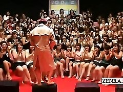 Subtitled CFNM Asian massive handjob bj event