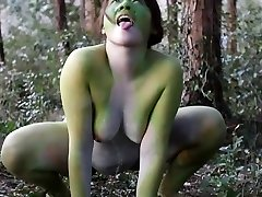 Stark bare Japanese fat frog lady in the swamp HD