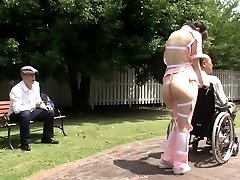 Subtitled bizarre Asian half naked caregiver outdoors
