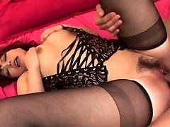 Damsel in hot black lingerie has threesome for creampie finish