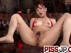 Steamy blow-job for Maomi Nagasawa in red lingerie