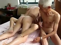 Amazing Homemade video with 3 Way, Grannies scenes