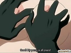 Big-chested anime hard humped by lizard monster