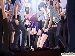 Ultra-cutie Japanese anime gangbang in the public show