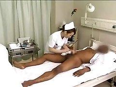 Asian nurses drain ebony cock