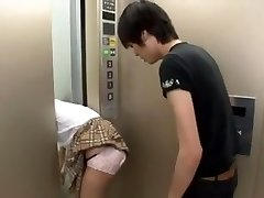 Japanese Schoolgirl Trapped on Elevator Three