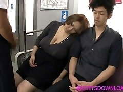 Big hooters asian fucked on train by two studs