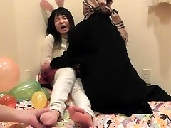 Asian teen nymph's soles tickled part 1