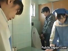 Asian rest room attendant cleans wrong part3