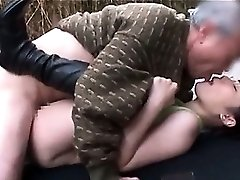 Slutty nubile jap brunette taking mature cock in her wet holes