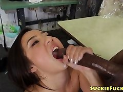 Asian little babe deep throating on two BBCs in trio