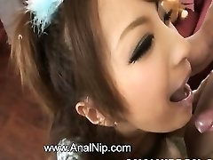 Asian schoolgirl smoking puny manhood