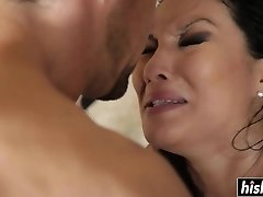 Asian beauty enjoys riding his man rod
