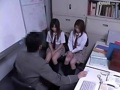 Two Jap schoolgirls screwed in voyeur Japanese sex video