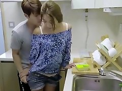 korean softcore bevy hot romantic kitchen fuck with sex plaything