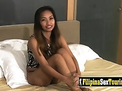 POV sex with a smallish Filipina babe with a kinky stranger and his big dick.