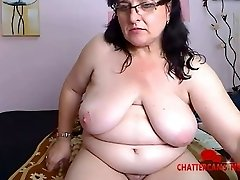 Obese Grandma Beats Her Pussy Up