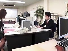 Whorish office lady Yukina Aoyama loves to masturbate