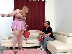 Fat blonde woman, Elisa Mae is riding a rock hard dick like a pro, after sucking it