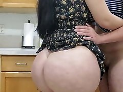 Hot Mom Boning in kitchen