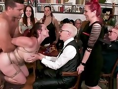 Huge tits redhead smashed in public club