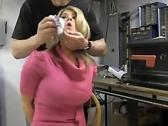 Busty blonde chair roped and cleave gagged