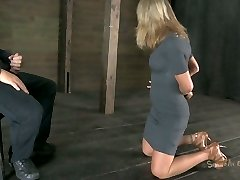 Talkative bitch Simone Sonay gets her mitts trussed up and has to suck a cock