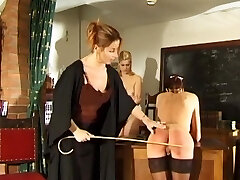 Daughter and mother spanked and caned by strict educator