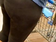 Candid ebony mature booty shopping