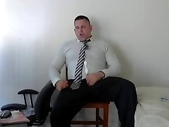 Suited beefy coach spunking