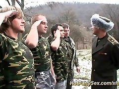 Chick gets soldiers jizz