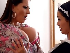 Two big tittied maids going kinky while cleaning the palace