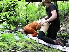 Lesbian Outdoor Rain woods Strap-On Poke