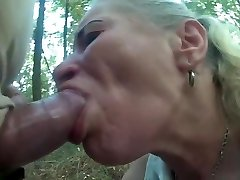 Pumped cock use scanty hooker hatch and throat in forest