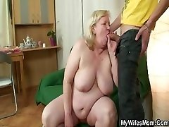 Enormous grannie is banged by her son on law