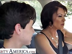 Super-naughty America Mrs. Fuller (Vanessa Videl) trains Juan how