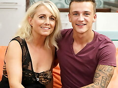 Blonde mature and her young paramour