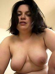 Naked brunette BBW GF posing for her man