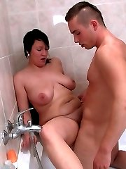 Shes all wet from showering and the horny BBW loves what his cock can do for her cunt