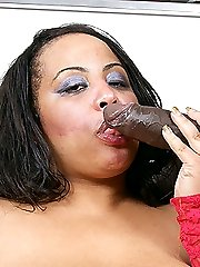Sultry black BBW hottie enjoys getting rammed with a thick giant cock