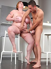 She picks up the young man and takes him home, away from his GF, to have BBW sex