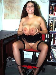 BBW in lylons playing with her breasts
