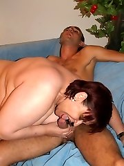 Accomplished mature bbw Marta uses her big tits to milk a cock after an intense fucking