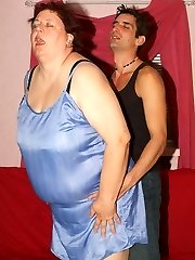 Explicit scene with a luxurious mature plumper named Agnes Eva seducing a younger man