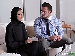 Phat breasted hijab Ella Knox gets drilled missionary style hard enough