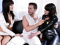 Two bang-out-starved bitches in latex outfits are fucked hard by hot blooded dude