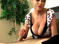 Hot Blonde Gives Titfuck, Handjob